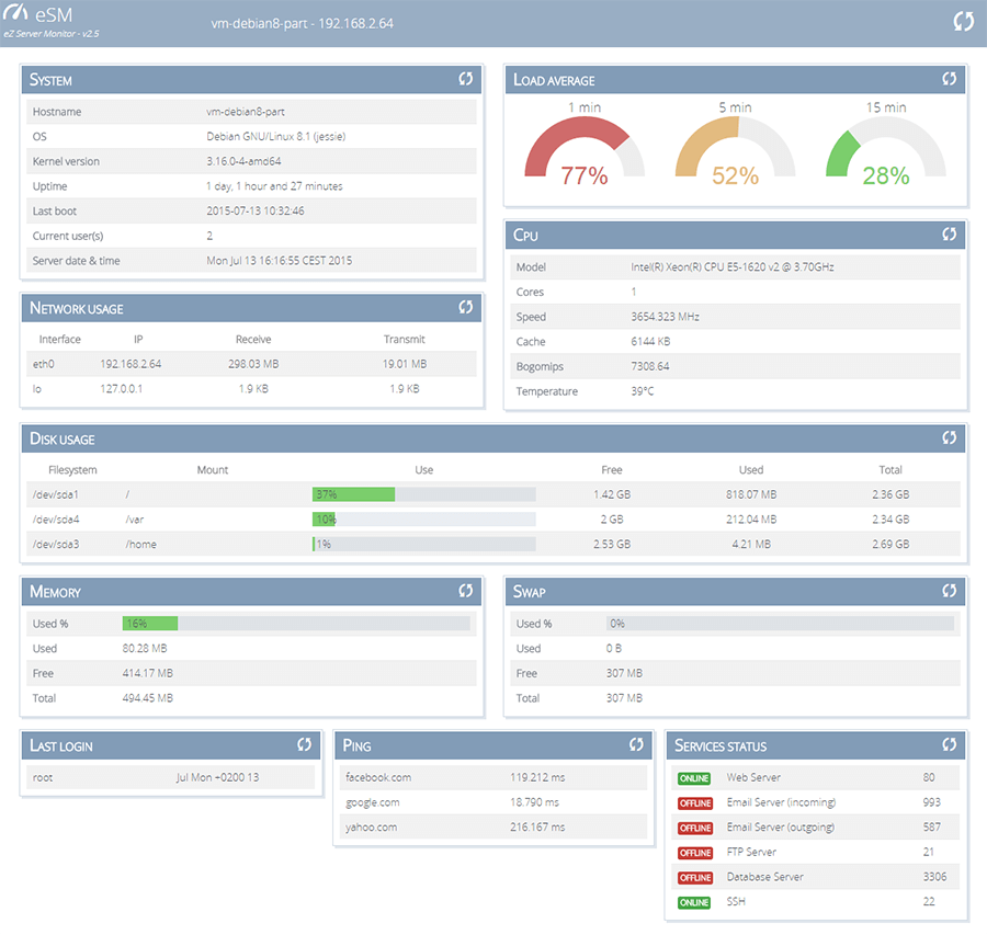 ezserver monitor dashboard screenshot